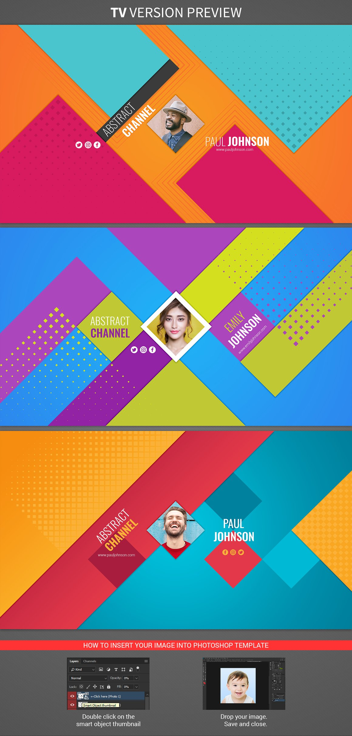 3 abstract youtube banners