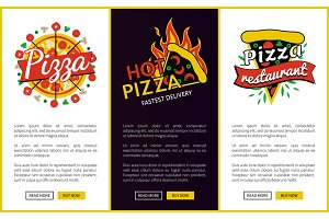 Pizza and Hot Pizza Delivery Vector Illustration