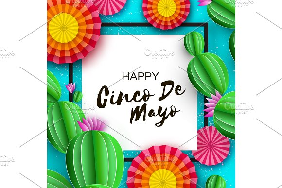 Happy Cinco De Mayo Greeting Card Colorful Paper Fan And Cactus In Paper Cut Style Mexico Carnival Square Frame On Blue Space For Text