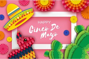 Happy cinco de mayo greeting card colorful paper fan flags funny happy cinco de mayo greeting card colorful paper fan funny pinata and cactus in m4hsunfo