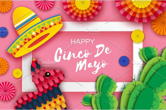 Happy Cinco De Mayo Greeting Card Colorful Paper Fan Funny Pinata And Cactus In Paper Cut Style Origami Sombrero Hat Mexico Carnival Recangle Frame On Pink Space For Text