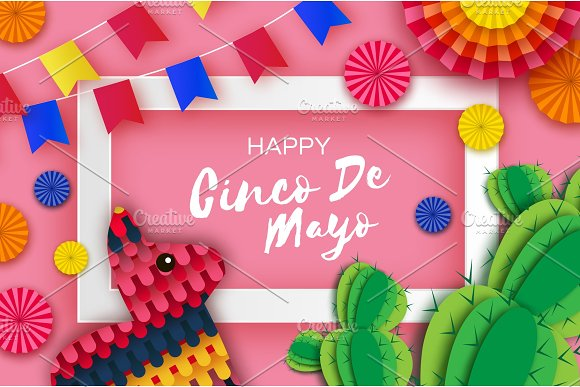 Happy Cinco De Mayo Greeting Card Colorful Paper Fan Flags Funny Pinata And Cactus In Paper Cut Style Origami Sombrero Hat Mexico Carnival Recangle Frame On Sky Pink Space For Text