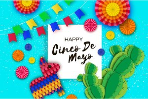 Happy Cinco de Mayo Greeting card. Colorful Paper Fan, Flags, Funny Pinata and Cactus in paper cut style. Origami Sombrero hat. Mexico, Carnival. Square frame on sky blue. Space for text.