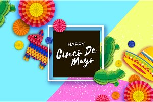 Happy Cinco de Mayo Greeting card. Colorful Paper Fan, Funny Pinata and Cactus in paper cut style. Origami Sombrero hat. Mexico, Carnival. Square black frame. Space for text.