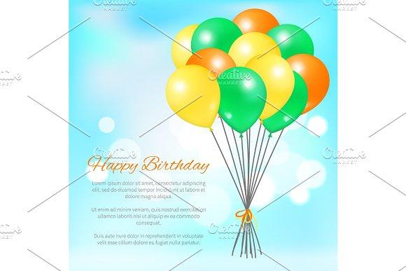 Happy Birthday Postcard Balloons Big Bundle Party