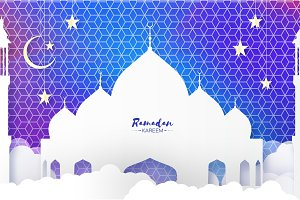 Ramadan Kareem. Arabic Mosque, clouds, white stars in paper cut style. Arabesque pattern. Crescent Moon. Holy month of muslim. Symbol of Islam. Origami Greeting card on sky blue.