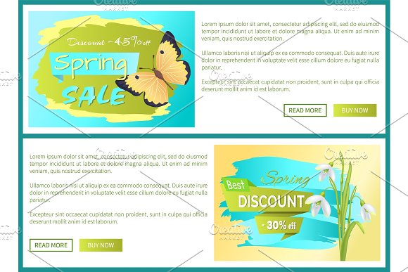 Spring Sale Poster Discount Color Butterflies Web