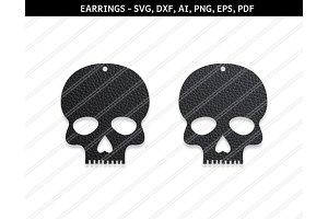 Skull earrings svg,dxf,ai,eps,png