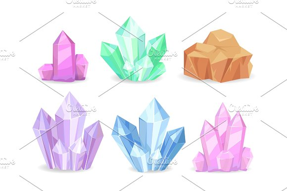 Crystals Realistic Precious Geological Minerals Isolated