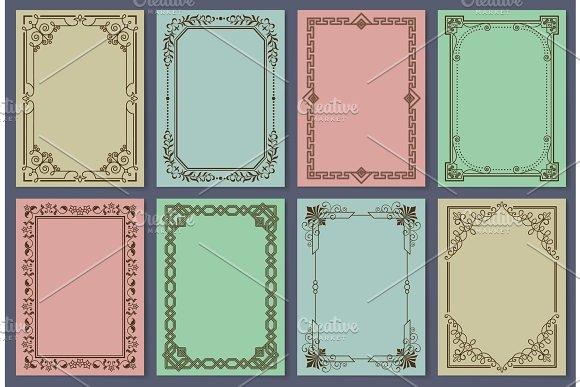 Vintage Postcards With Elegant Frames Templates