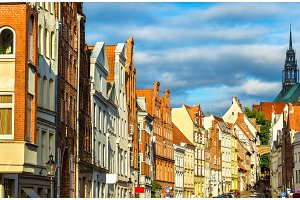 Street in the old town of Lubeck - Germany