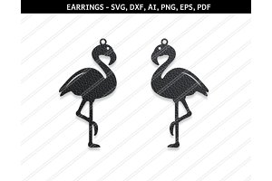 Flamingo earrings svg,dxf,ai,eps,png