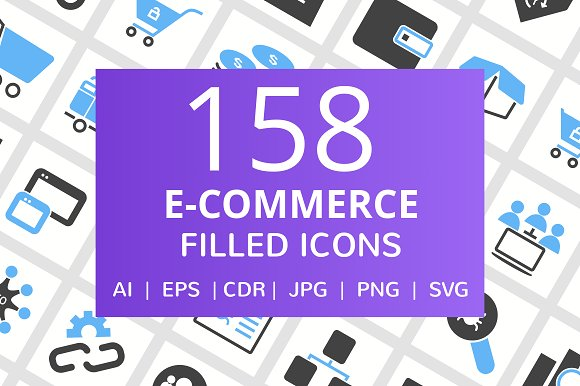 158 E-Commerce Filled Icons