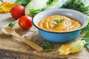 Squash caviar with tomato paste and