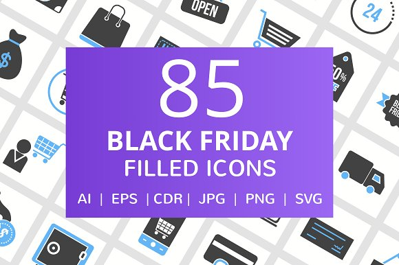 85 Black Friday Filled Icons