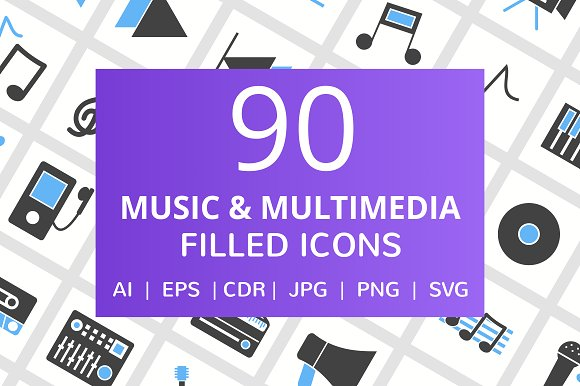 90 Music Multimedia Filled Icons