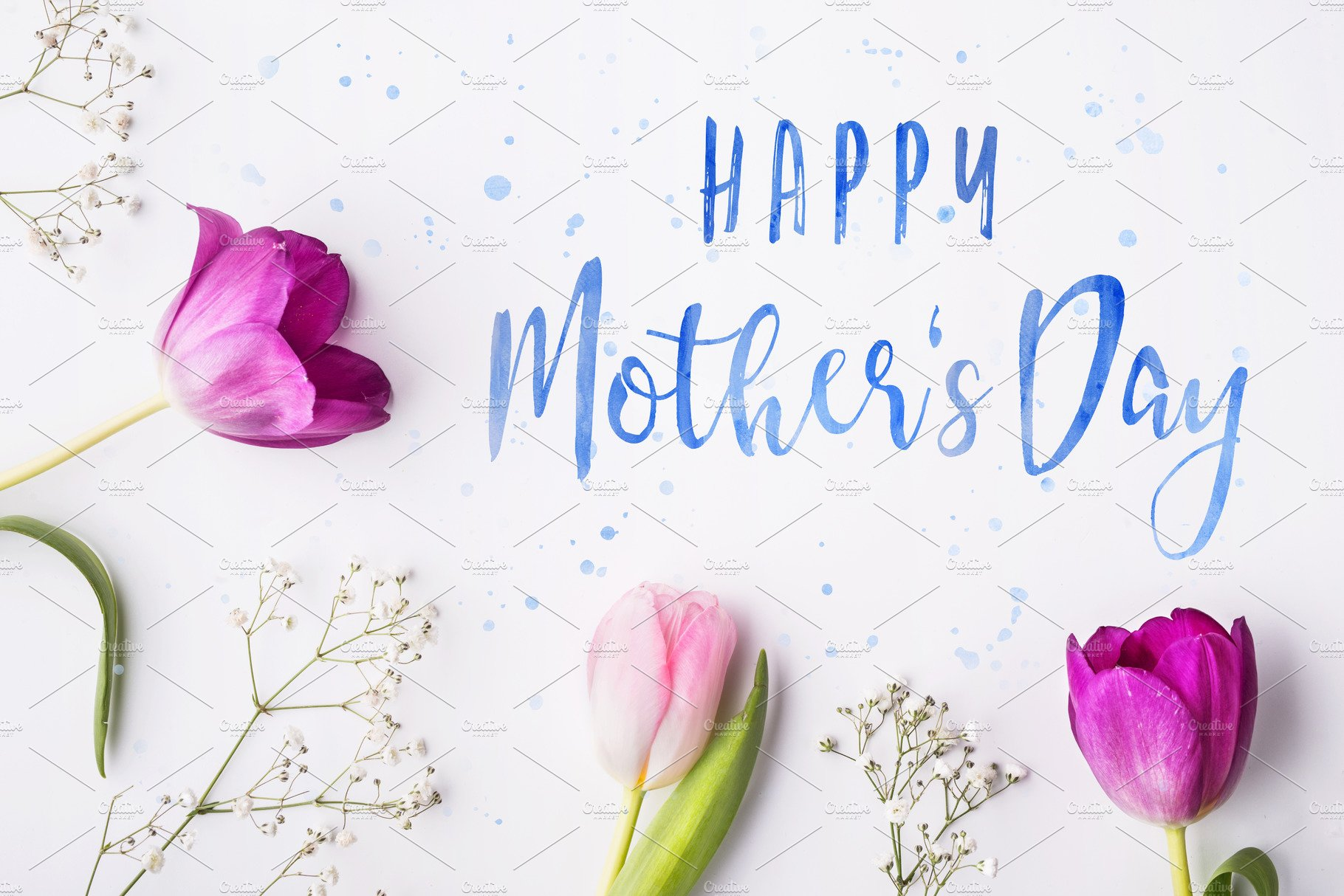 Happy Mothers Day Composition Flowers On White Background Studio