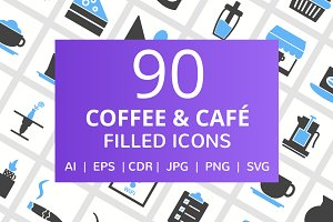 90 Coffee & Cafe Filled Icons
