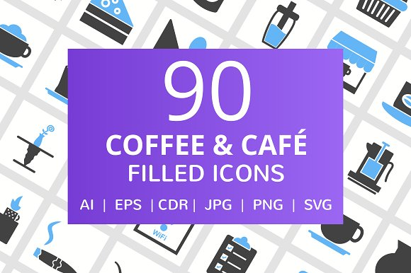 90 Coffee Cafe Filled Icons