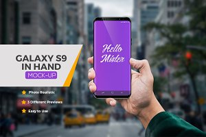Samsung Galaxy S9 in Hand Mock-Ups
