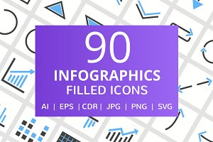 90 Infographics Filled Icons