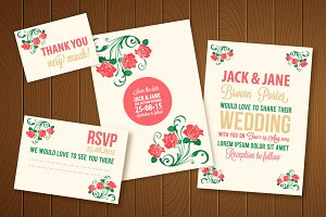 Wedding Invitation Vector Watercolor