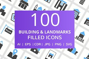 100 Building & Landmarks Filled Icon