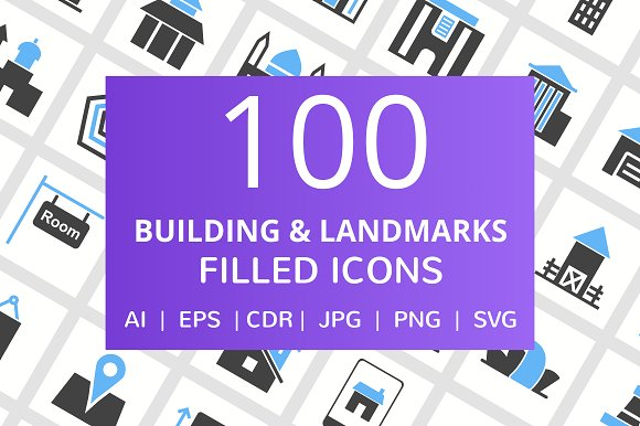 100 Building Landmarks Filled Icon