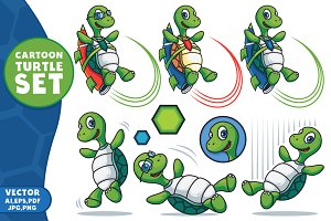 Cartoon Vector Turtle Character Set