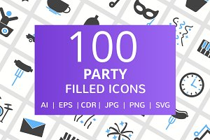 100 Party Filled Icons