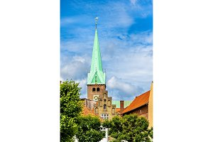 Saint Olaf cathedral in the old town of Helsingor - Denmark