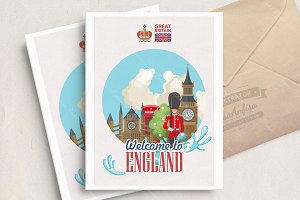 England travel vector illustration