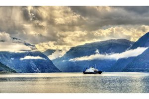 Ferry Mannheller - Fodnes crossing the Sognefjord - Norway