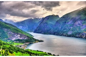 View of Aurlandsfjord from Stegastein viewpoint - Norway