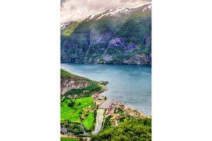 View of Aurlandsvangen village and Aurlandsfjord - Norway