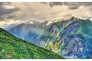 Mountains forming Aurlandsfjord - Norway