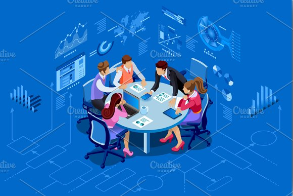 Isometric People Team Management