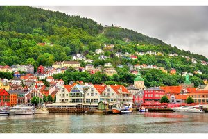 The historic centre of Bergen above Vagen bay