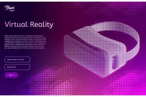 Isometric virtual reality concept. VR headset. Vector illustration.