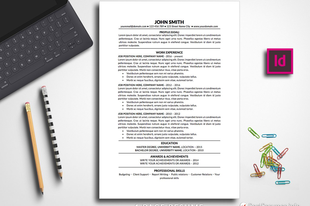 Resume Template Traditional InDesign Templates Creative