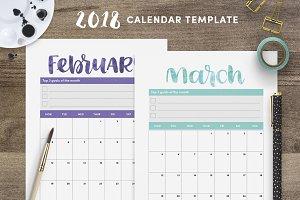 Cute 2018 Calendar Template