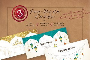 6. Set Of Ramadan Pre-Made Cards.