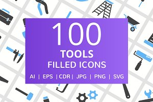 100 Tools Filled Icons