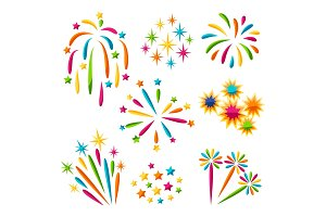 Set of bright colorful fireworks and salute