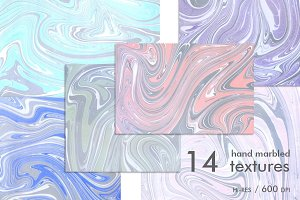 14 Hand Marbled Textures