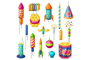Set of colorful fireworks. Different types of pyrotechnics, salutes and firecrackers