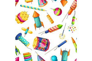 Seamless pattern with colorful fireworks. Different types of pyrotechnics, salutes and firecrackers