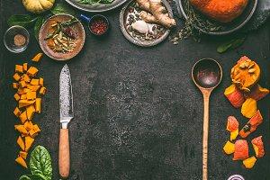 Autumn seasonal food with pumpkin