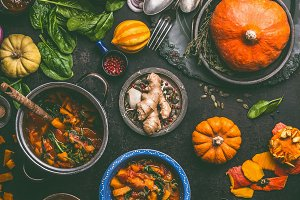 Autumn cooking with pumpkin