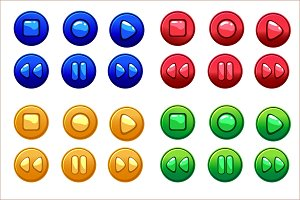 Cartoon Colored Audio buttons, vector UI game assets